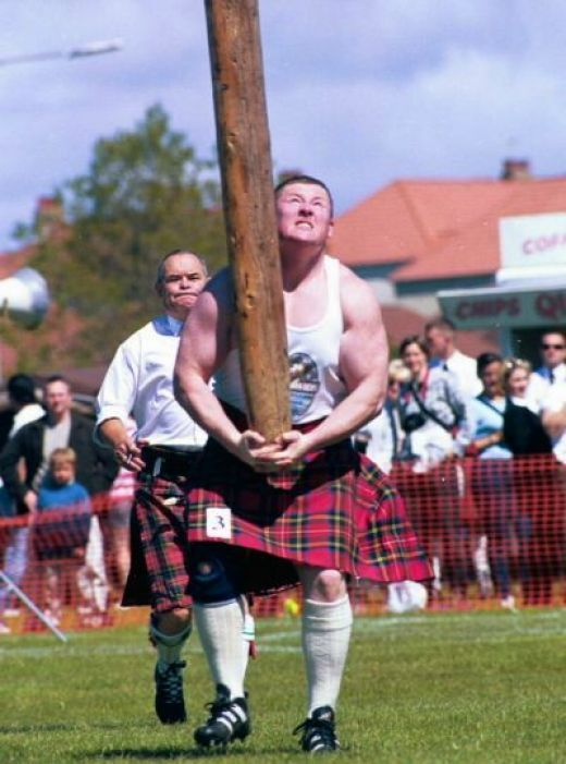 Highland Games - Tossing the Caber  We attended the games in Iverkeithing, August 2014