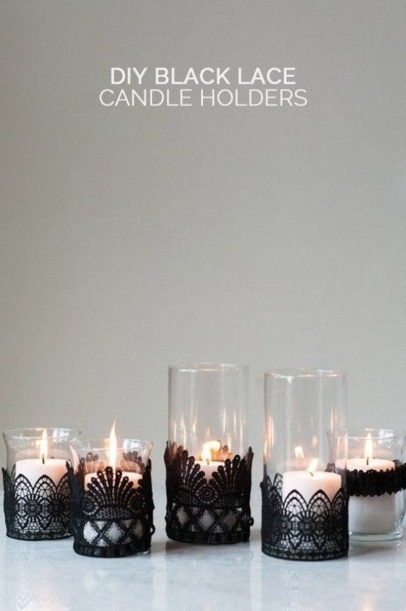 Diy Black Lace Candle Holders By Cydconverse In 2020 Lace Candle Holders Black Lace Candles Halloween Candles