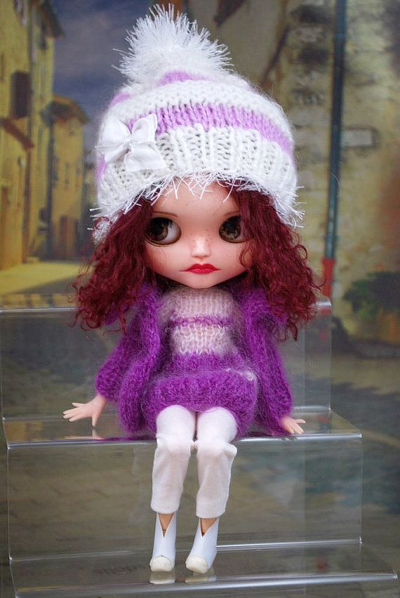 Ensemble for Blythe dolls, cardigan,long knit top, hat, pants,boots