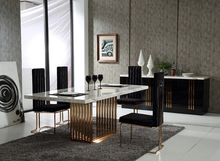 Kingsley Modern Marble & Rosegold Dining Table