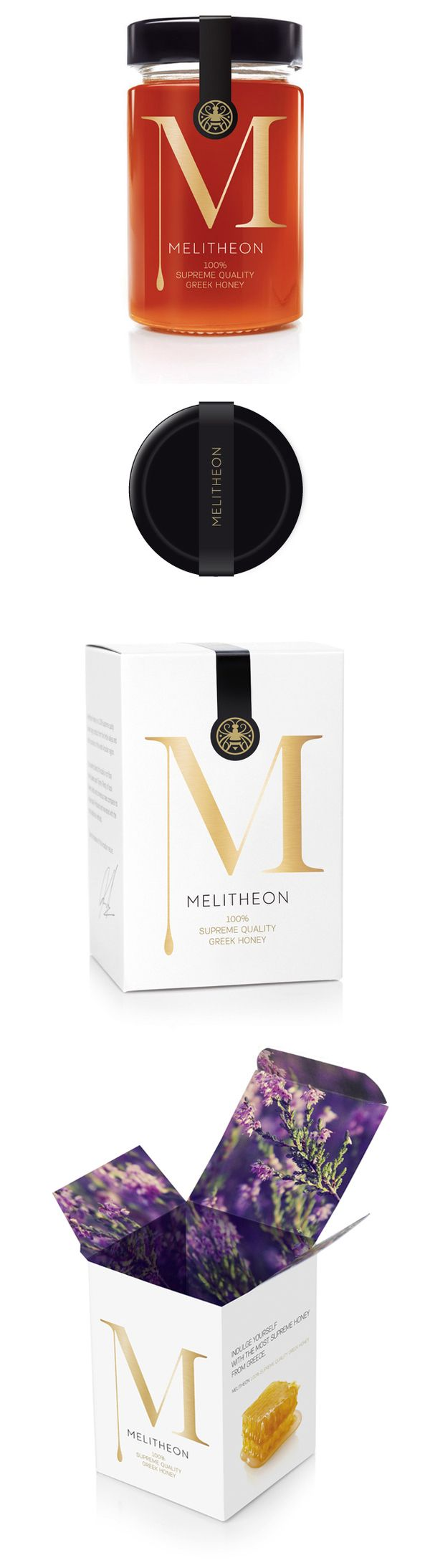 Melitheon Packaging Design by Aris Goumpouros. Love the surprise & delight when you open the top flap.