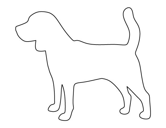 Beagle pattern. Use the printable outline for crafts, creating stencils, scrapbooking, and more. Free PDF template to download and print at http://patternuniverse.com/download/beagle-pattern/