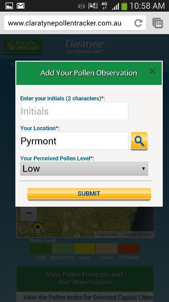 Claratyne social pollen tracker observation pin