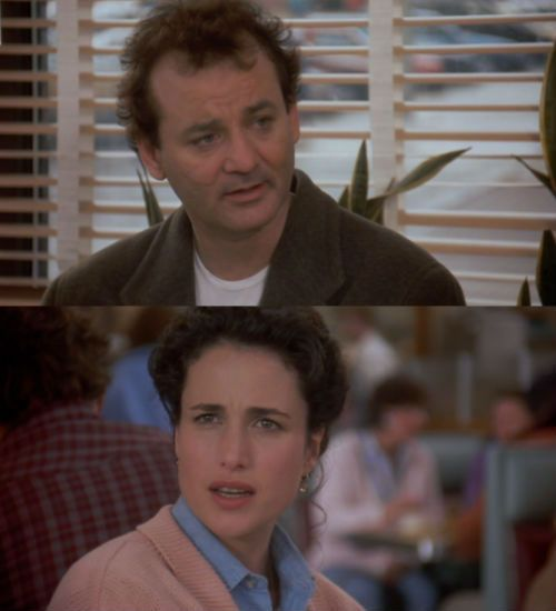 Groundhog Day, 1992, Bill Murray and Andie MacDowell. Fantastic Movie, worth watching again and again. Rita: I'm sorry, what was that again? Phil: I'm a god! Rita: You're a god? Phil: I'm a god. I'm not the God. . .I don't think.
