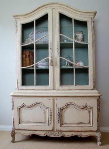 Antique Oak China Cabinet Painted With Annie Sloan Chalk Paint Door Glass Was Replaced