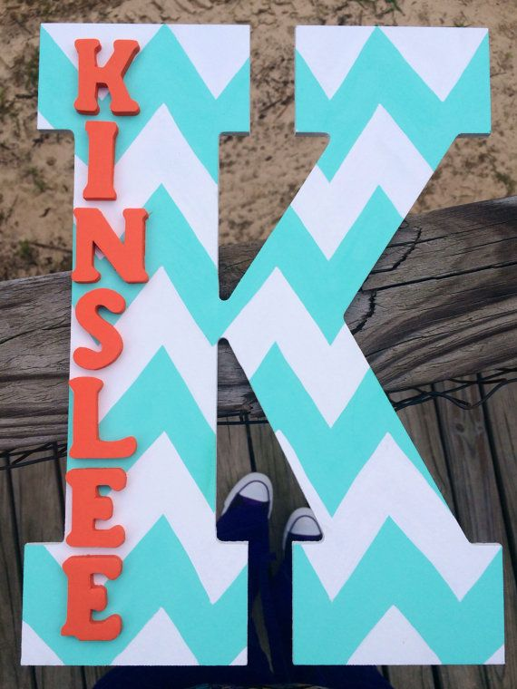 Chevron letter. Baby room/nursery decor/Letter with name.Chevron pattern/custom letter. Tiffany Blue/Coral/White Nursery decor on Etsy, $20.00