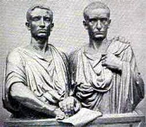 Tiberius and Gaius Gracchus - the Gracchi brothers. Their actions led to the end of the Roman Republic.