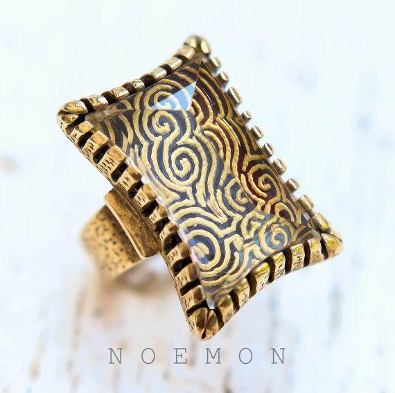 Sterling silver gold platedintaglio quartz by NoemonDesignStudio