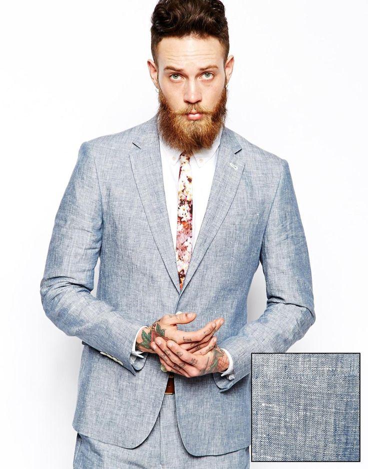 ASOS Slim Fit Blazer In 100% Linen