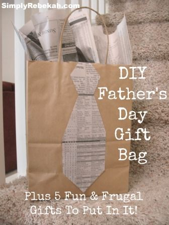 DIY Father's Day Gift Bag - Plus 5 Fun & Frugal Gifts to Put in it! - Dad will love this!: Gift Bags, Father'S Day Gifts, Frugal Gift, Gift Ideas, Fathersday Gifts, Fathers Day, Dad Fathersdaygiftwrap