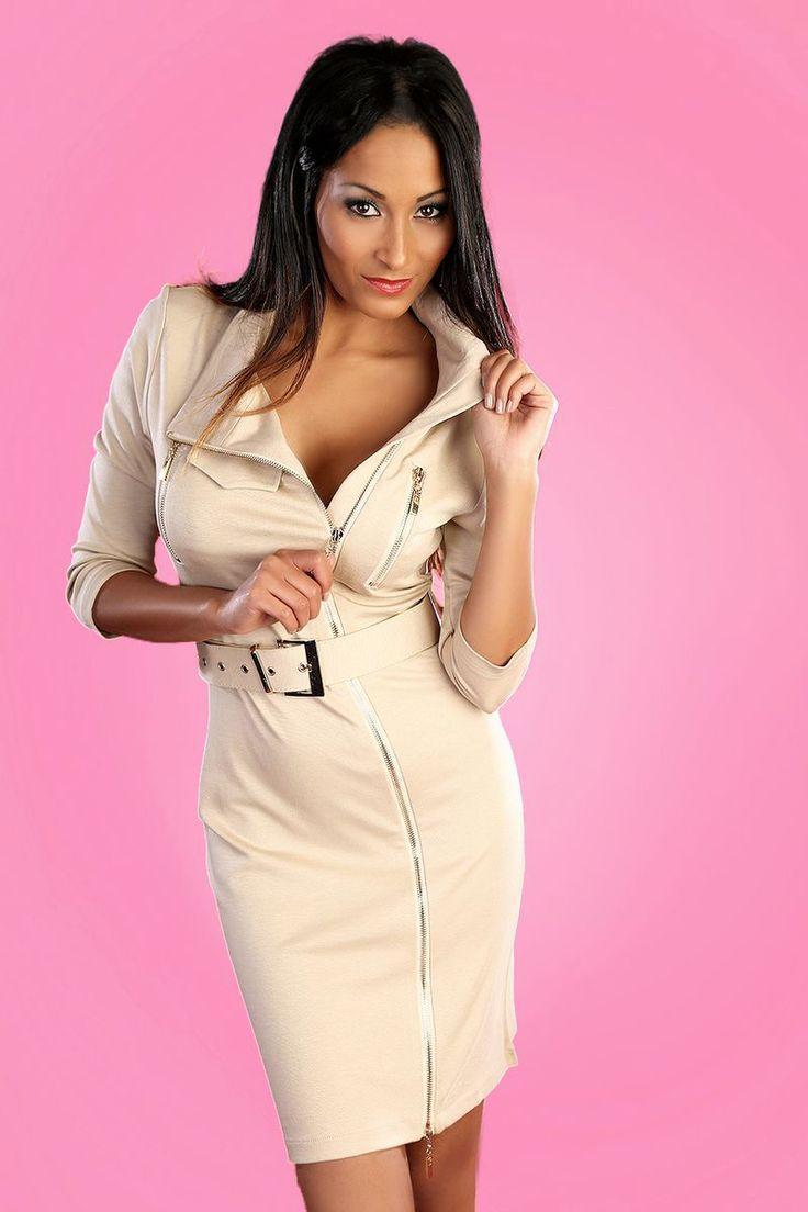 Robe Beige zip et ceinture - INFINIE PASSION