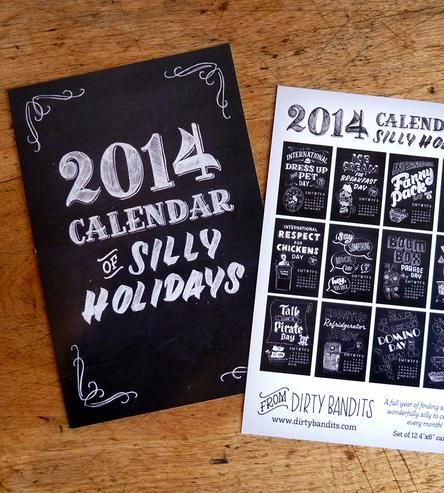 2014 Silly Holidays Calendar Postcards | Gifts Cards & Stationery | Dirty Bandits | Scoutmob Shoppe | Product Detail