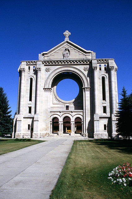 St. Boniface Basilica. (It burned, but it they couldn't tear down the rest because there's a Bishop buried in the wall or something.)