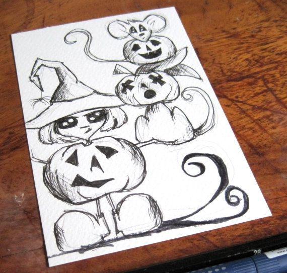 pumpkin head postcard art original drawing halloween