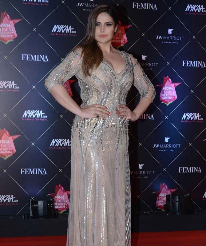 f3eec1c3f0c Zareen Khan turned heads wearing on offbeat shimmer dress at the ...