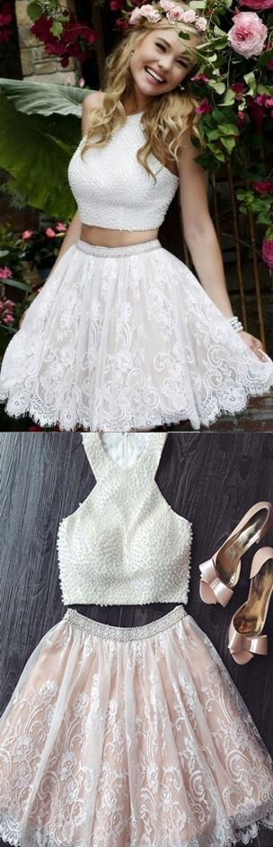 two piece prom dresses, lace prom dresses, pearls prom dresses, white prom dresses, short prom dresses, 2 piece prom dresses, sleeveless prom dresses, cute prom dresses