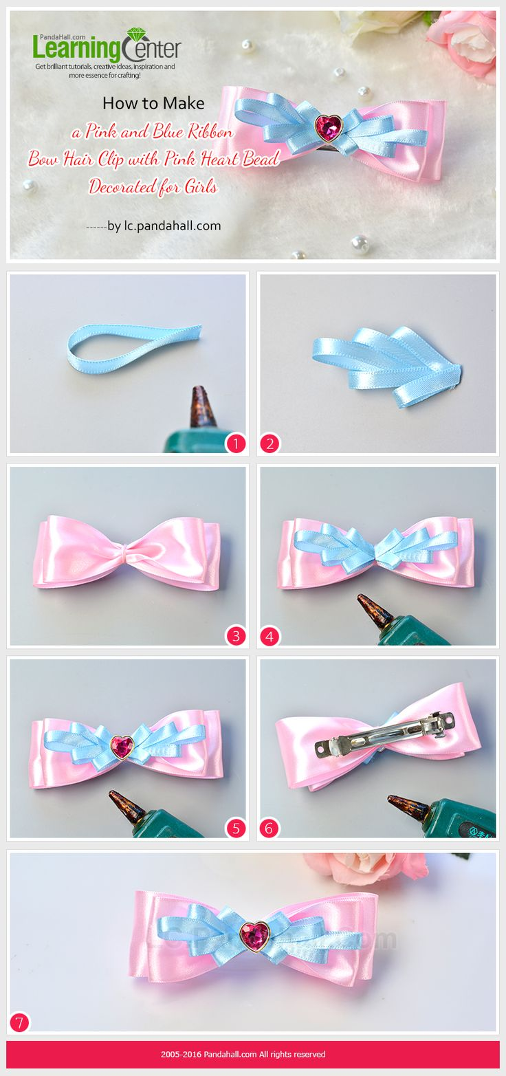 How to Make a Pink and Blue Ribbon Bow Hair Clip with Pink Heart Bead Decorated for Girls from LC.Pandahall.com