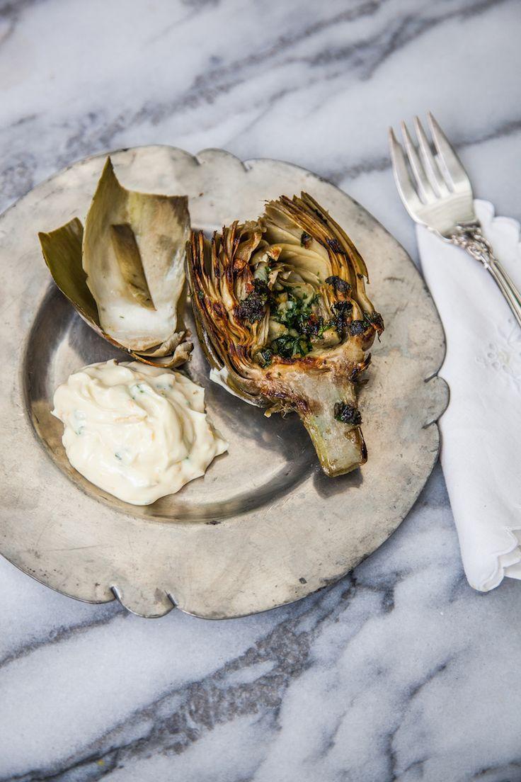 Grilled Artichoke with Lemon Garlic Aioli | Camille Styles