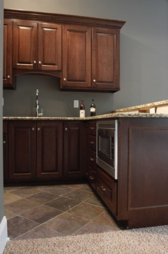 I like the cabinet color. Wall paint is Sherwin Williams Grizzle Gray