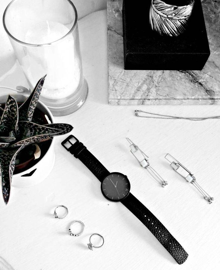 minimal flatlay: succulent + watch + jewelry. interior design by eva redson