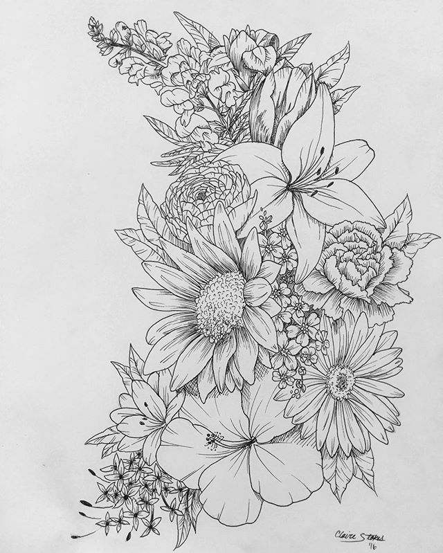 Floral tattoo. Contact me for custom drawings clairestokes93@yahoo.com. Instagram: clairestewartart. Plus my etsy is where it's at!  link to my store: https://www.etsy.com/listing/269477486/custom-drawingtattoo-design