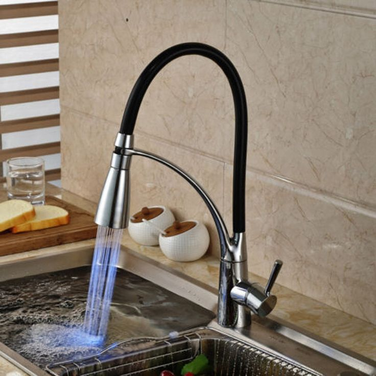 LED Kitchen Sink Faucet <b>Black Chrome Plated</b> Cold Hot Pullout ...
