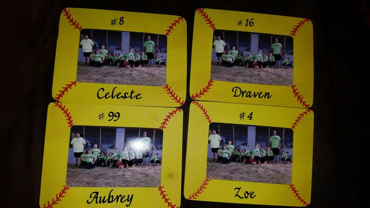 Softball picture frames I made for my daughters softball team