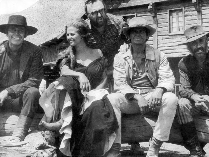 Henry Fonda, Claudia Cardinale, Sergio Leone, Charles Bronson & Jason Robards on the set of Once Upon a Time in the West.