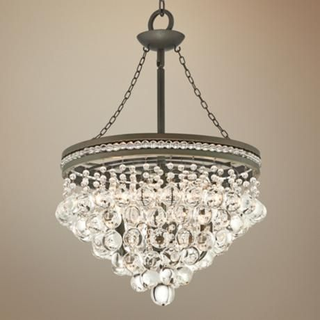 regina olive bronze 19 wide crystal chandelier - Dining Room Crystal Lighting
