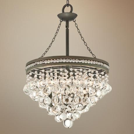 regina olive bronze 19 wide crystal chandelier - Dining Room Crystal Lighting