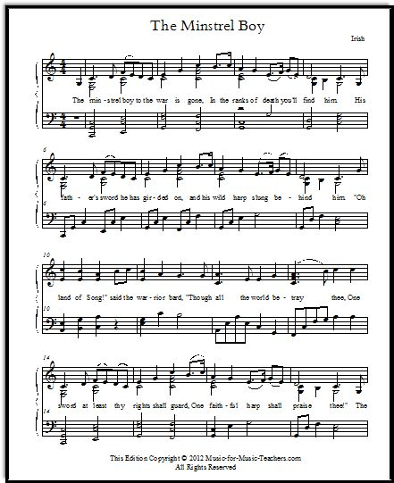 The Minstrel Boy for voice and piano, Irish sheet music, a patriotic song