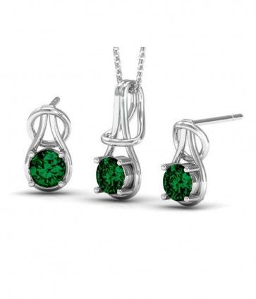 Rhodium Plated Emerald Color Fashion Pendant & Earrings Set made with Swarovski Crystals (GS021EM). #Glimmering #SwarovskiNecklaces #SwarovskiPendantSets #FashionNecklaces #DesignerPendantSet #NecklaceSwarovskiCrystals #CrystalPendant #SwarovskiJewelrySet