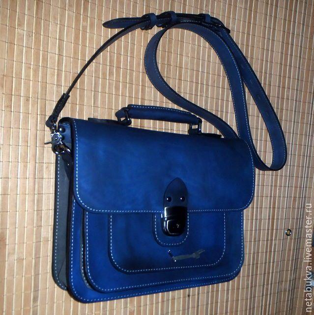 """Купить Портфель """"Синее и серое"""" - тёмно-синий, портфель, портфель из кожи, портфель мужской"""