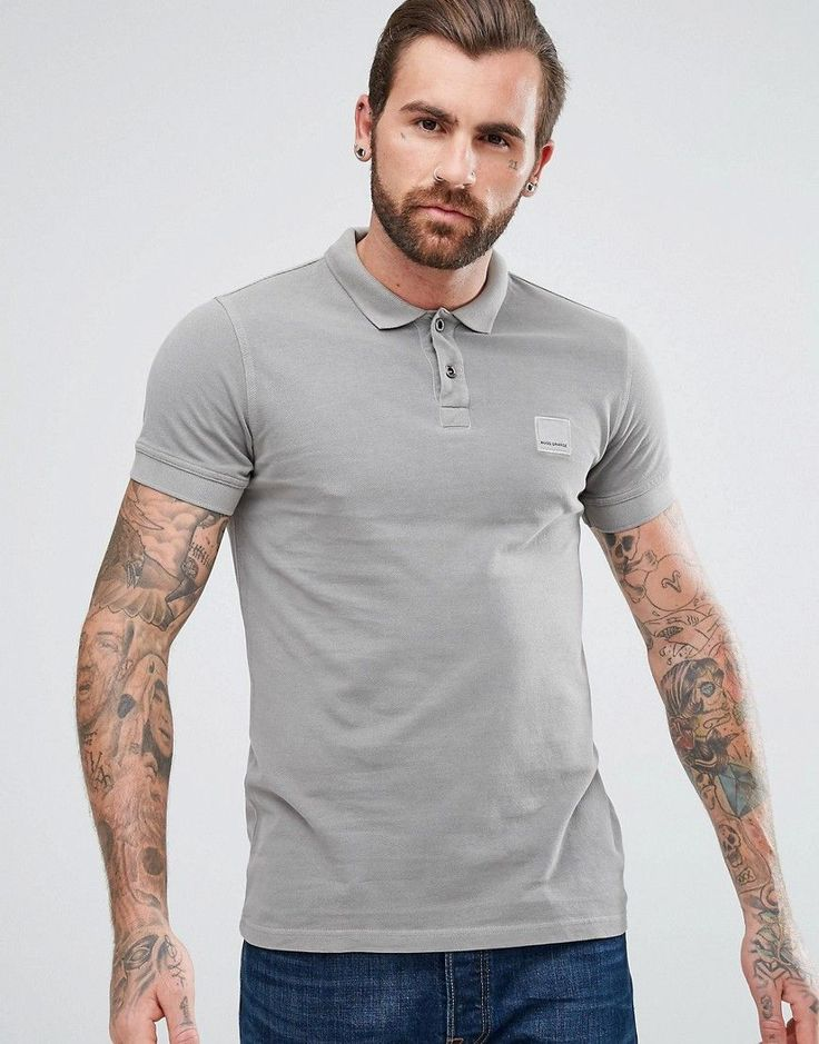 BOSS ORANGE BY HUGO BOSS PASCHA SLIM FIT POLO SHIRT IN GRAY - GRAY. #bossorange #cloth #