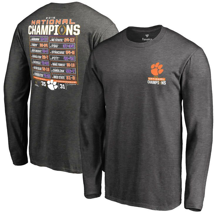 Clemson Tigers Fanatics Branded College Football Playoff 2016 National Champions Schedule Long Sleeve T-Shirt - Charcoal - $29.99