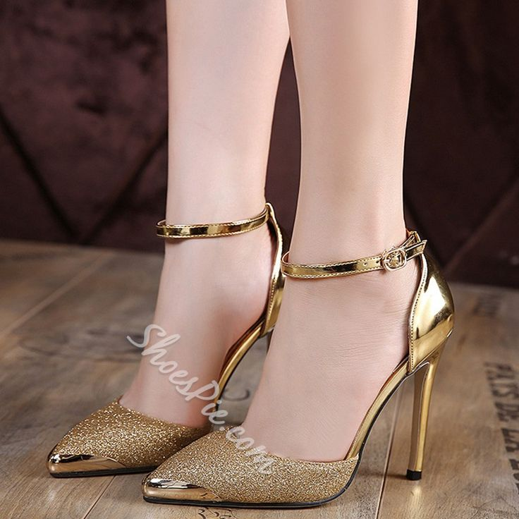 Shoespie Cap Toe Ankle Wrap Stiletto Heel Court Shoes