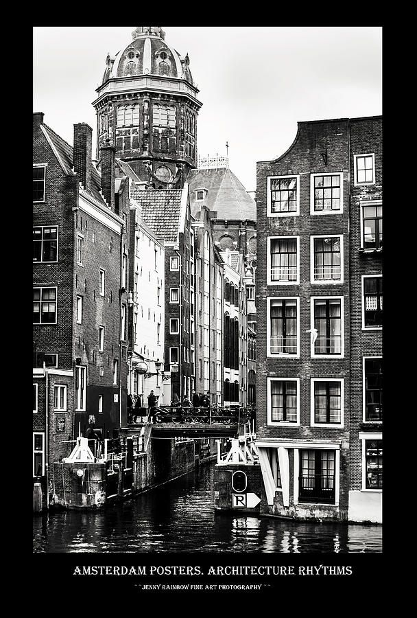 Amsterdam Posters. Architecture Rhythms by Jenny Rainbow.  Big collection of Amsterdam posters with black framing with concept of city architecture and street photos. This collection offering the same style for all the images and perfectly suits for wall decor of the bars and restaurants or minimalistic home interiors.