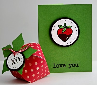 SRM Stickers - Jen Martakis created this treat box with coordinating card for Valentine's Day using SRM's SWEET We've Got Your Sticker.  YUM!