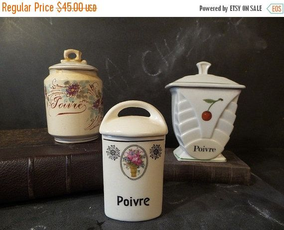 10% OFF French Antique Kitchen Canisters Set .French Kitchen Decor .Storage  .Instant