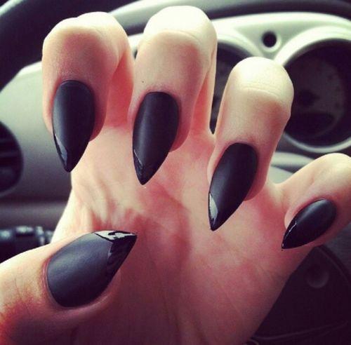 matte black mountain peak nails-- BAD!