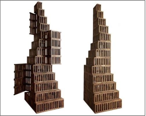 미켈레 데 루치의 estense cabinet이라는 작품으로, 보기에는 그냥 건물을 형상화한 조형물 같지만  양옆으로 열리면서 안에 수납을 할 수 있는 수납장입니다. 독특하죠?