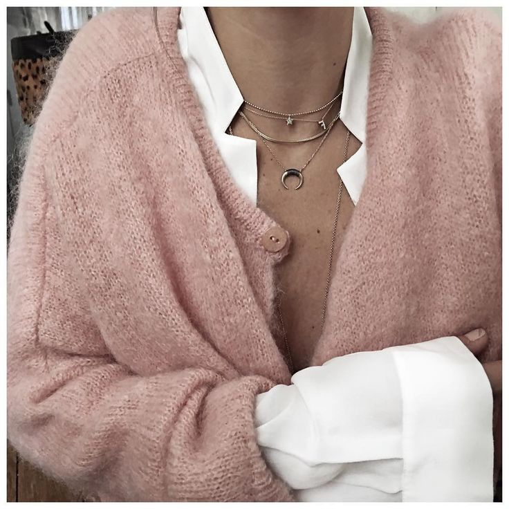 Warm cardigan, layered necklaces. @intentjewellery