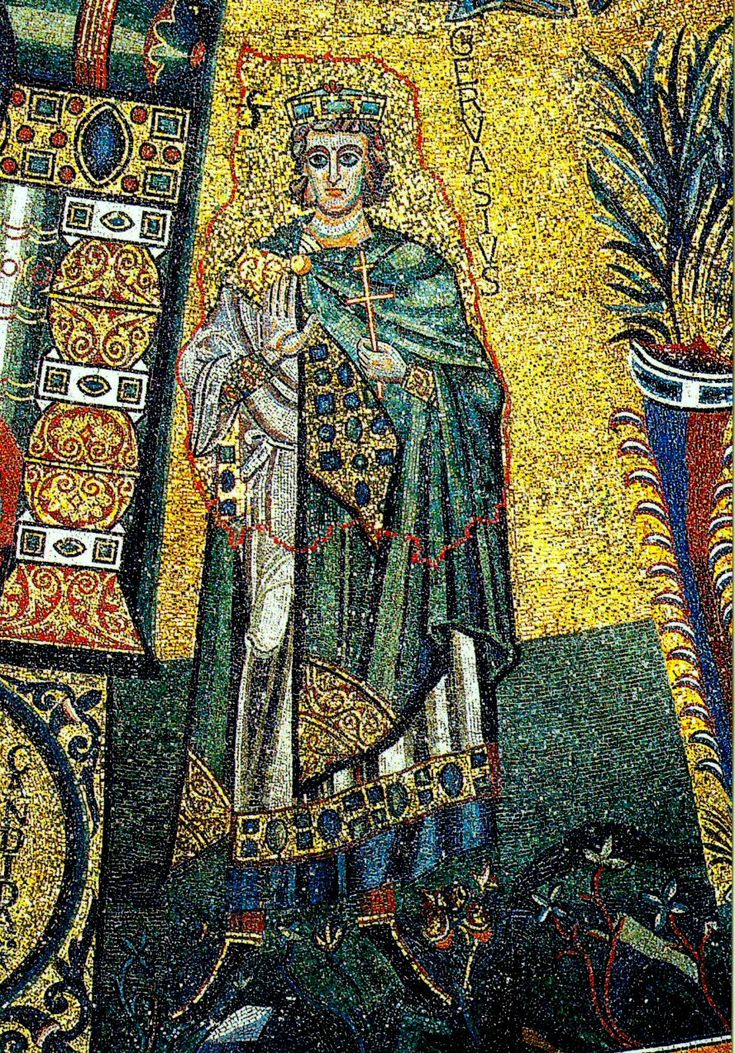 Byzantine: Fitted tunic sleeve show under larger white outer tunic called an alb.