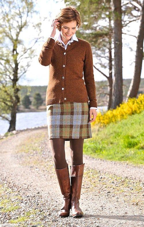House of Bruar-Ladies Harris Tweed Straight Skirt