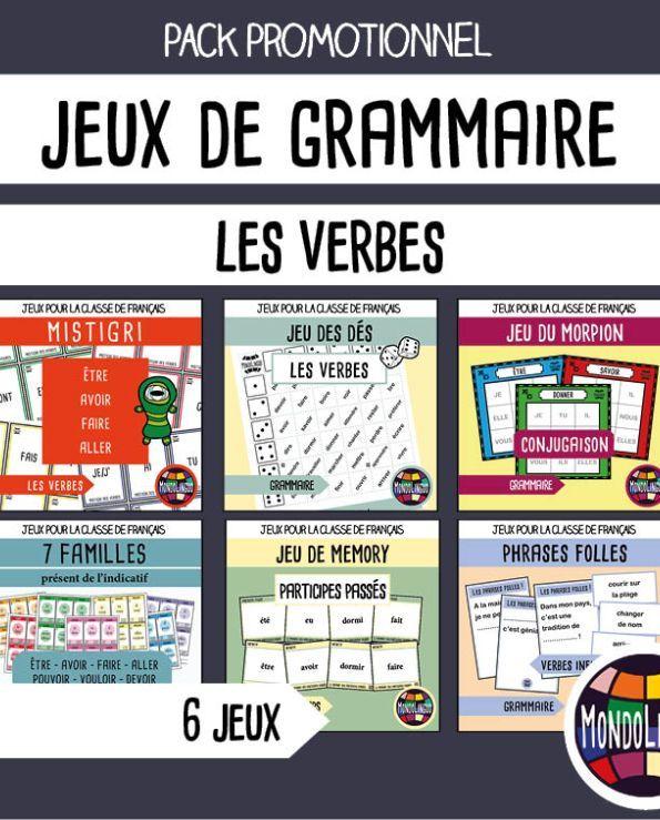 Jeu De 7 Familles De La Conjugaison Les Verbes Au Present De L Indicatif Mondolinguo Francais Education Grammar Writing