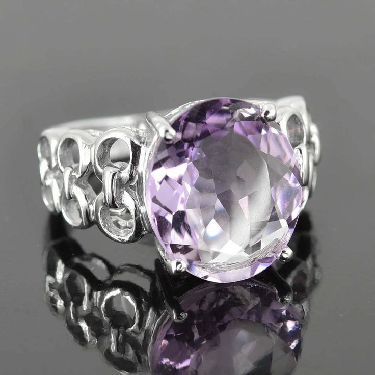 Amethyst Ring, 7 ct, Purple, Oval Cut, Birthstone Ring, February, Gemstone Ring, Sterling Silver Ring, Solitaire Ring, Statement Ring by JubileJewel on Etsy