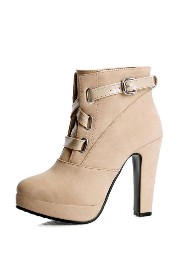 Fashion High Heels Ankle Booties In Beige