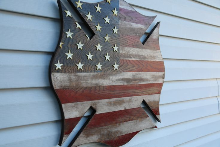 Rustic Maltese Cross American Flag. Hand crafted in the USA! Wood has been painted, stained, poly coated and distressed to give it a beautiful weathered appearance! Pick between Fire Hose stars ...