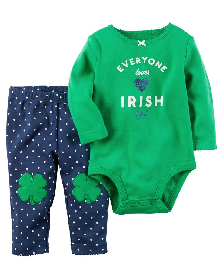 Baby Girl 2-Piece St. Patrick's Day Bodysuit & Pant Set  Baby's first St. Patrick's Day is cute and comfy with this coordinating bodysuit and legging set. Crafted in soft cotton with polka dots and shamrock knee art.