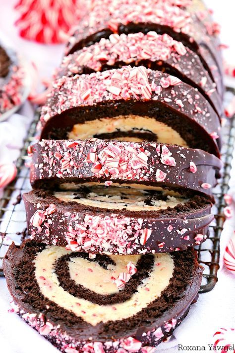 white chocolate filling, this chocolate peppermint bark roll cake ...